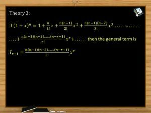 Binomial Theorem - Theories (Session 7)