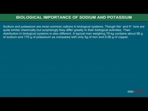 Class 11 Chemistry - Biological Importance Of Sodium And Potassium Video by MBD Publishers