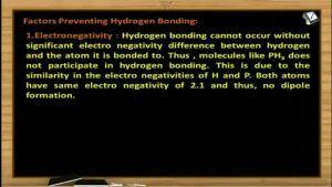 Chemical Bonding - Factors Preventing Hydrogen Bonding (Session 11)