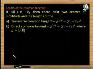 Circle - Length Of The Common Tangent (Session 8)