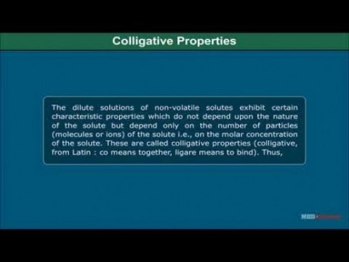 Class 12 Chemistry - Colligative Properties And Determination Of Molar Mass Video by MBD Publishers