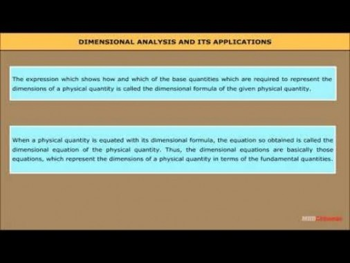 Class 11 Physics - Dimensional Analysis And Its Applications Video by MBD Publishers