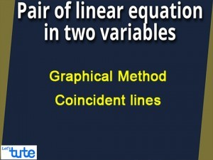 Pair Of Linear Equations In Two Variables - Graphical Method - Coincident lines Video By Lets Tute