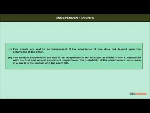 Class 12 Maths - Independent Events Video by MBD Publishers