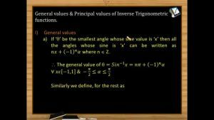 Inverse Trigonometric Functions - Worked Out Examples 1 (Session 1 & 2)
