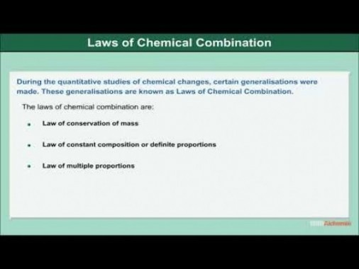 Class 11 Chemistry - Laws Of Chemical Combination Video by MBD Publishers
