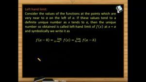 Limits - Left Hand Limit (Session 1)