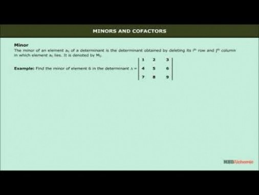 Class 12 Maths - Minors And Cofactors Video by MBD Publishers