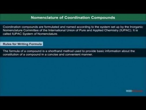 Class 12 Chemistry - Nomenclature Of Coordination Compounds Video by MBD Publishers