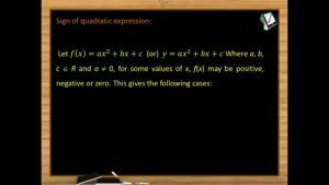 Quadratic Equations - Sign Of Quadratic Expression 1 (Session 6)