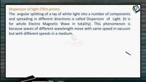 Ray Optics - Dispersion Of Light (Thin Prism) (Session 11, 12 & 13)