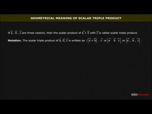 Class 12 Maths - Scalar Triple Product Video by MBD Publishers