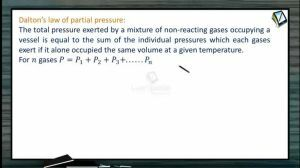 Thermodynamics - Daltons Law Of Partial Pressure (Session 11)