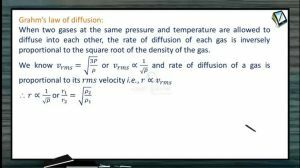 Thermodynamics - Grahms Law Of Diffusion (Session 11)