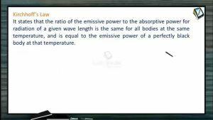 Thermodynamics - Kirchoffs Law (Session 20 & 21)