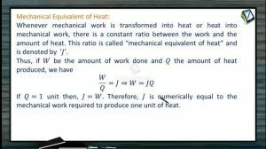 Thermodynamics - Mechanical Equivalent Of Heat (Session 12)