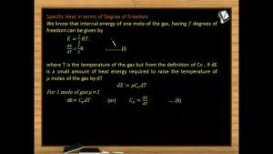 Thermodynamics - Specific Heat In Terms Of Degree Of Freedom (Session 13 & 14)