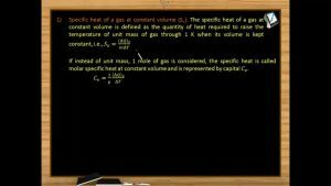 Thermodynamics - Specific Heat Of A Gas At Constant Volume And Pressure (Session 13 & 14)
