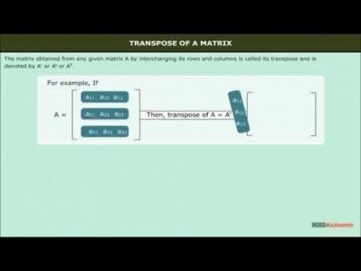 Class 12 Maths - Transpose Of A Matrix Video by MBD Publishers