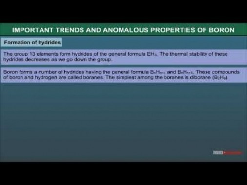 Class 11 Chemistry - Trends And Anomalous Properties Of Boron Video by MBD Publishers