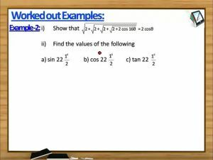 Trigonometric Ratios And Transformations - Worked Out Examples 2 (Session 8)