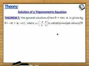 Trigonometry - Solution Of A Trigonometric Equation Theorem7 With Example (Session 1)