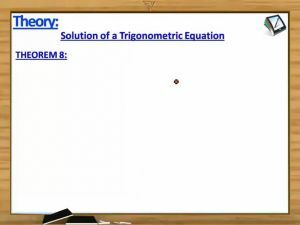 Trigonometry - Solution Of A Trigonometric Equation Theorem8 With Example (Session 1)
